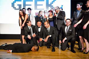 2011 Geek Award recipients goofing off onstage