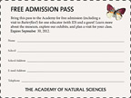 educator's pass for free admission to the Academy