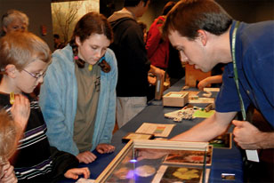 Young museum visitors look as specimens during a bicentennial event