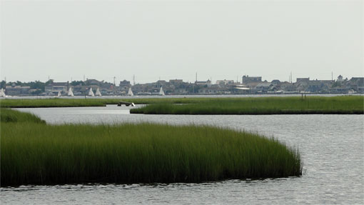 wetlands, open water and waterfront development on Bargnegat Bay, New jersey