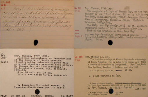 four antique card catalog entries