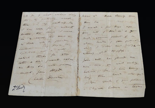 photo of the letter from Charles Darwin to Joseph