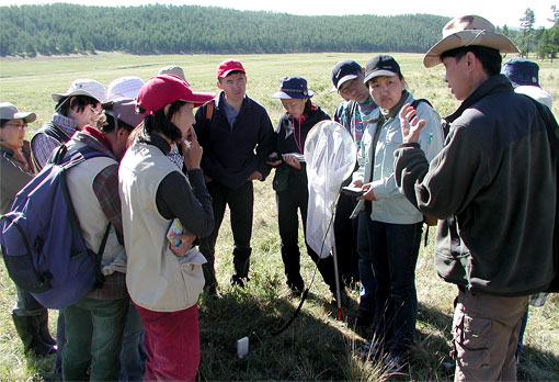 photo showing research scientists and students in Mongolia
