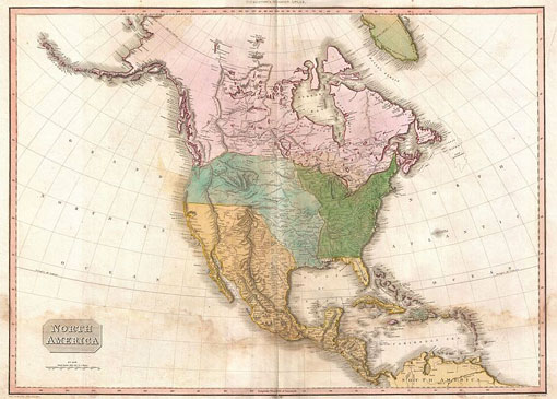 map of the North America in 1812