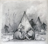 illustration of Scott's Antarctic party huddled in a tent