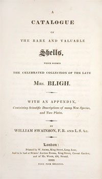 reproduction of the title page an 19th century natural history auction catalog