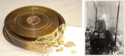 degrading nitrate film reel and archival photograph of Fenimore Johnson underwat