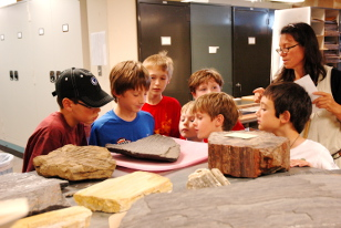 kids with plant fossils