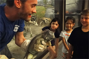 live iguana and kids during Academy Explorers Camp