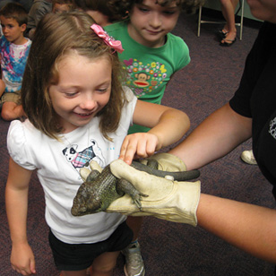 young girl touching a live lizard