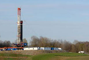Marcellus Shale drilling rig in northeastern Pennsylvania